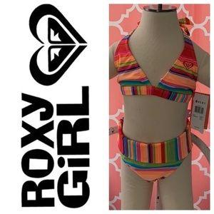 NWT Roxy Girl Size 7 bikini with fold over bottoms